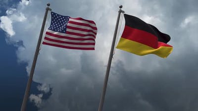 Waving Flags Of The United States And Germany 4K
