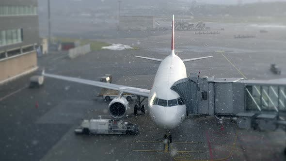 Thumbnail for Airplane Standing at Airport Terminal in Winter Snow Fall Weather