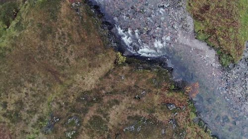 Top View Panning of a Stream in Glencoe Valley Scotland