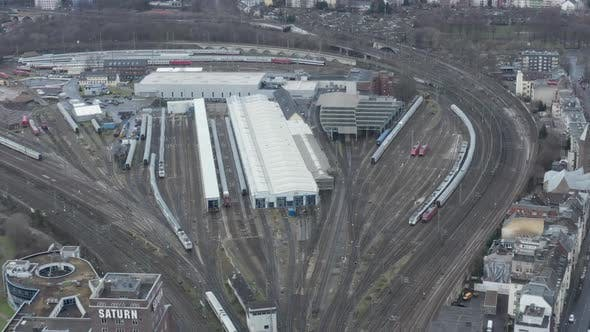 Thumbnail for AERIAL: Over Cologne Railway Train System with Train Driving on Cloudy Day