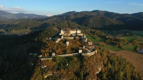 Aerial View Of Wellknown Medieval Castle Hochosterwitz 13