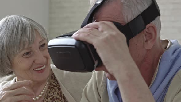 Thumbnail for Senior Man and Elderly Woman with VR Goggles