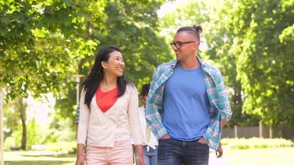 Thumbnail for Happy International Friends Walking in Park 6