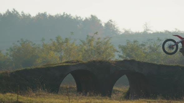 Cover Image for Motocross stunts on a bridge