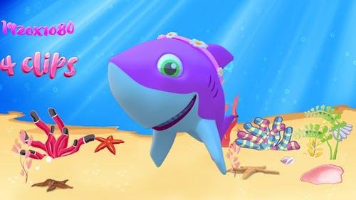 Cartoon Mommy Shark dancing