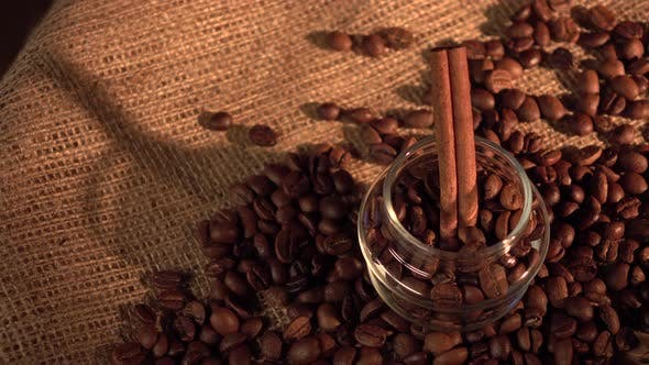 Thumbnail for Coffee Beans with Star Anise and Cinnamon on Sackcloth, Cam Moves To the Right, Shadow