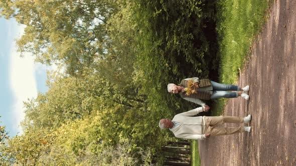 Thumbnail for Family Couple Walking in Autumn Park