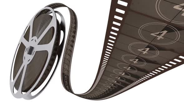 Film Strip Unreels Film Reel with Countdown Isolated on the White Background