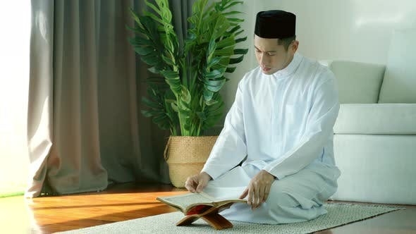 Thumbnail for Asian Muslim Man Reading the Qur'an 04
