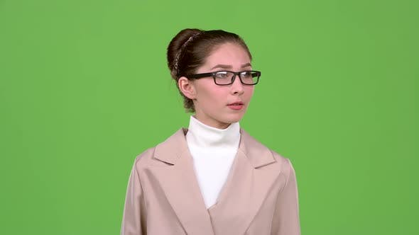 Thumbnail for Woman Thinks About Serious Issues and Finds a Solution. Green Screen. Slow Motion