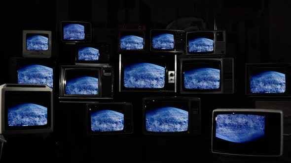 Thumbnail for Planet Earth as Seen on Stacked Old vintage TVs.