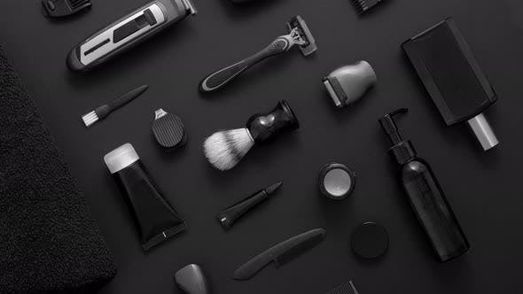 Thumbnail for Men Beauty and Health Concept. Various Shaving and Bauty Care Accessories Placed on Black Background