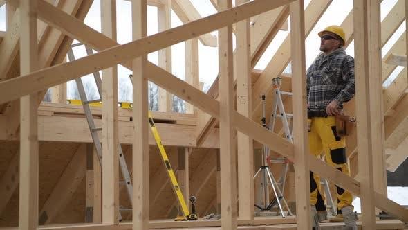 Building Wooden House Skeleton Frame