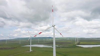 Wind Turbine and Drone Flight Around Generator on the Wind Power Station