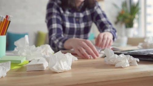 Exacerbation of Seasonal Allergies Young Woman Sneezes