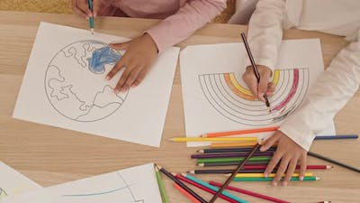 Coloring Rainbow and Earth Pictures