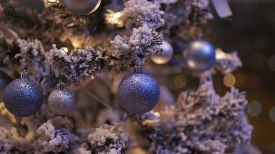Thumbnail for Christmas Tree Decoration in Blue Color at Night