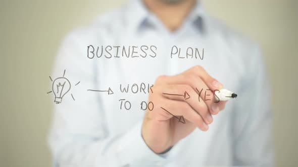 Thumbnail for Concept of Business Plan, Businessman Writing on Transparent Screen