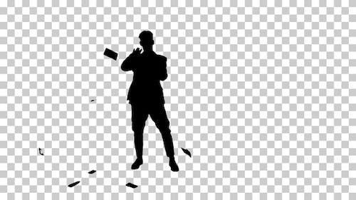Silhouette Homme marchant et jetant de l'argent, Alpha Channel
