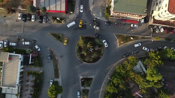 Intersection Timelapse Traffic Drone