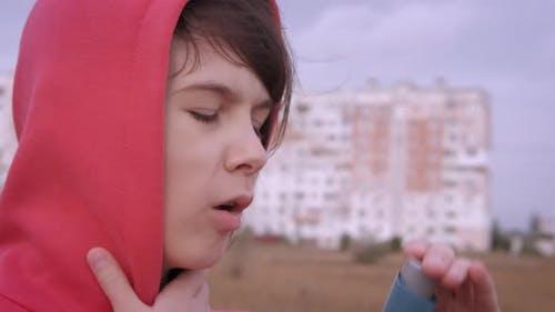 Girl Suffering Asthma Disease