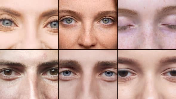 Multiscreen Diverse Collage of Men and Women Eyes Closeup Smiling at Camera Looking you