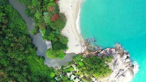 Wide angle above abstract view of a sunshine white sandy paradise beach and aqua blue ocean backgrou