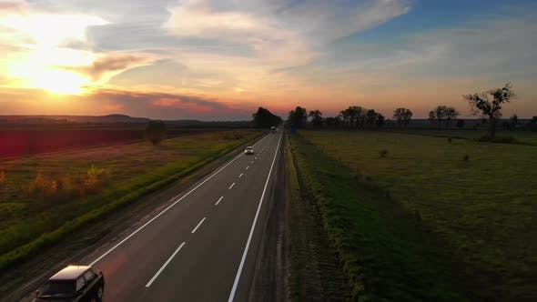 Amazing Aerial Drone View Cars and Semi Trucks Driving By Road