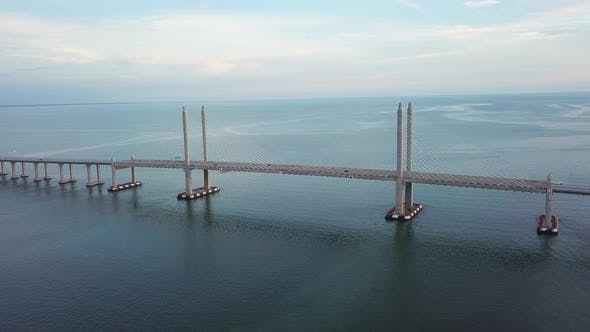 Aerial Penang Second Bridge in evening