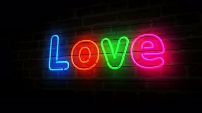 Love symbol neon on brick wall 3d
