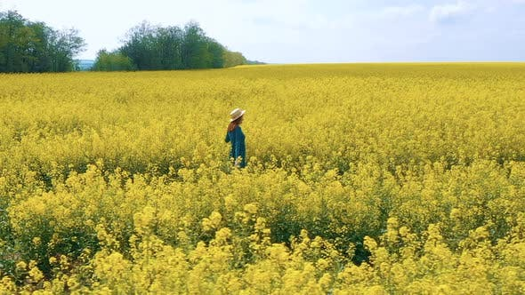 Thumbnail for Happy Girl Enjoying At The Rapeseed Field 4