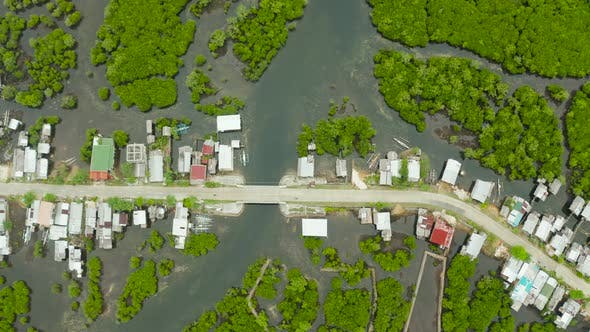 Thumbnail for Aerial View of Town Is in Mangroves. Siargao,Philippines.
