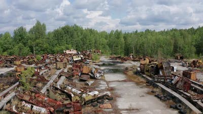 Aerial View of Auto Junkyard in Chernobyl Zone