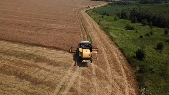 Thumbnail for Aerial View of Combine Harvesters Agricultural Machinery. The Machine for Harvesting Grain Crops