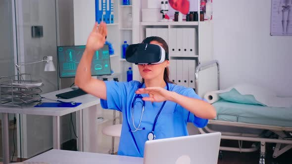 Professional Physician Wearing Virtual Reality Glasses