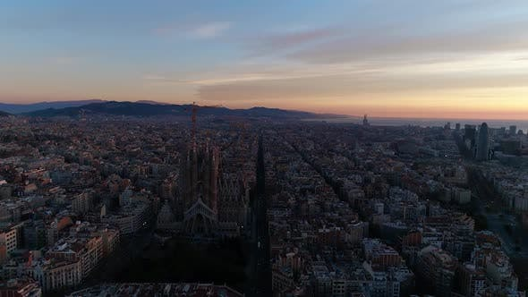 Aerial View of Barcelona City Street