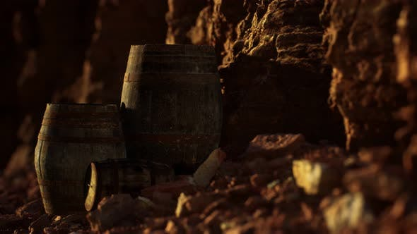 Thumbnail for Old Wooden Vintage Wine Barrels Near Stone Wall in Canyon