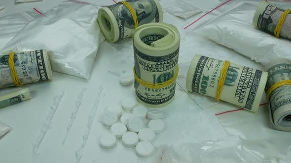 Thumbnail for Dirty Profit Of The Drug Cartel From The Sale Of Cocaine And Tablets