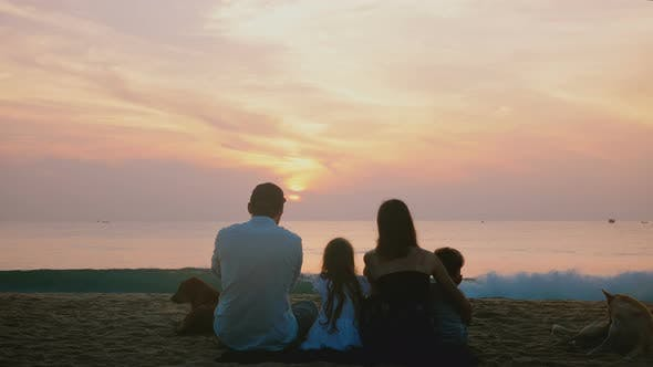 Thumbnail for Amazing Back View Shot of Happy Travelers Family with Two Dogs Sitting Together at Amazing Tropical