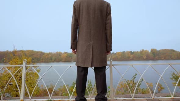Loneliness Concept Aged Man Rear