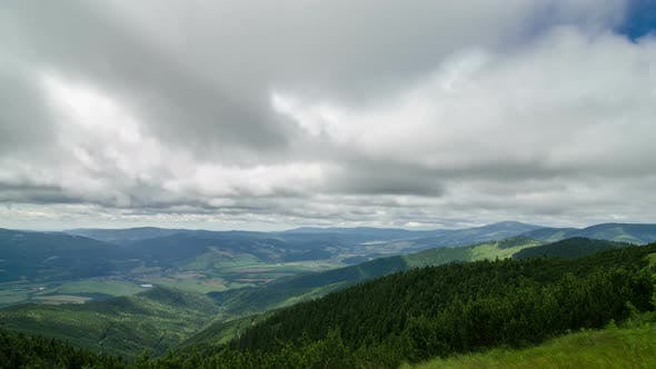 Thumbnail for Clouds Motion over Green Carpathian Mountains Country in Summer Nature