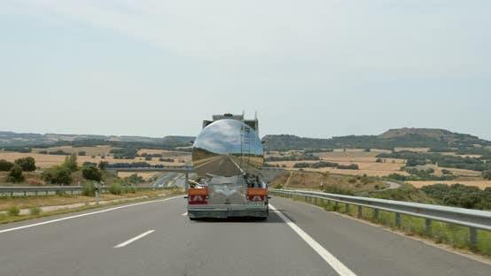 Metal Fuel Tank Truck on Empty Highway Road
