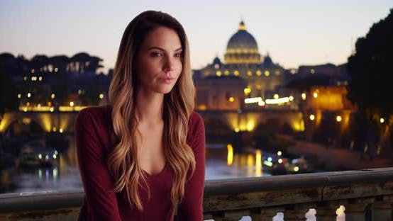 Thumbnail for Portrait of Caucasian woman in Rome with skyline in the background