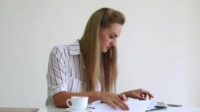 Blonde Business Woman Working at Modern Office