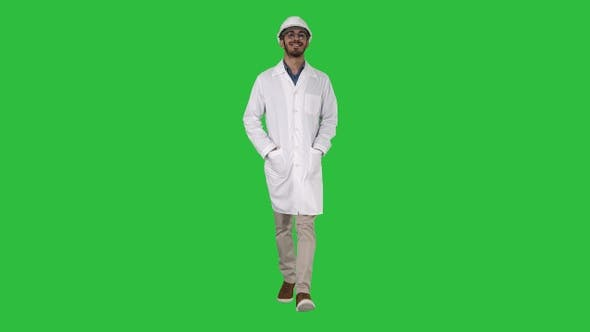 Thumbnail for Happy engineer walking Great result on a Green Screen, Chroma Key.