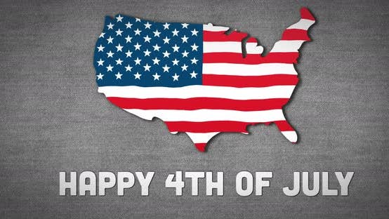 Animation of an U.S. map with an U.S. flag waving with a text Happy 4th of July on grey background