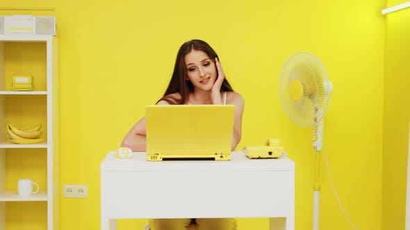Young Woman Enjoys Online Romantic Conversation
