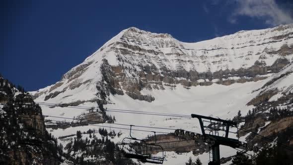 Static shot of ski lift cables at Mt. Timpanogos, UT.