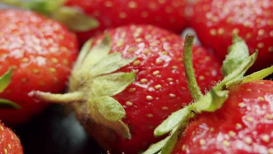 Thumbnail for Rotate View, Fresh Strawberries, Rotating Slowly. Macro Close Up.