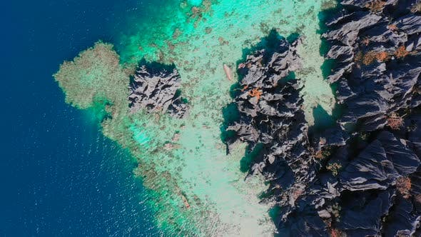 Thumbnail for Flying amazing rocks and tropical coral reef lagoon